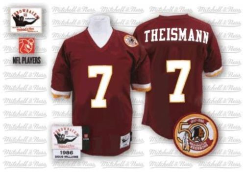 Joe Theismann Men s Authentic Burgundy Red 50th Patch Jersey  Mitchell and Ness  NFL Washington Redskins Home  7 Throwback 6cf623e39