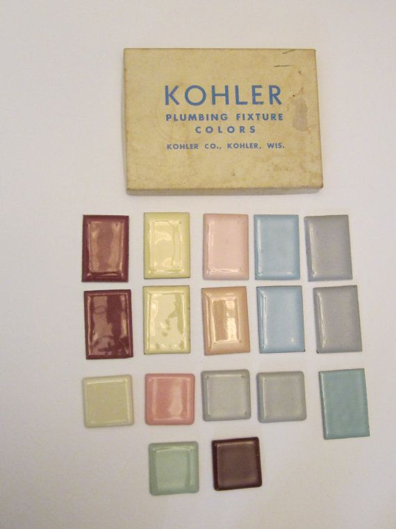 Box of 1950s Kohler and Eljer Sample Plumbing Fixture Color Tiles ...