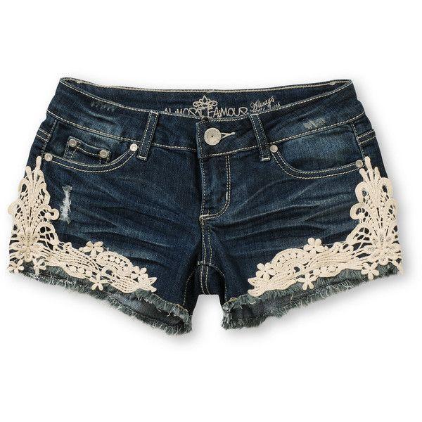 Almost Famous Kara Medium Blue Crochet Denim Shorts ($25) ❤ liked on Polyvore featuring shorts, bottoms, pants, short, frayed denim shorts, cut off shorts, frayed jean shorts, jean shorts and denim cutoff shorts