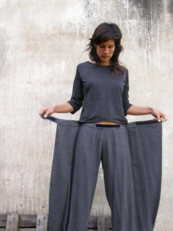 Unique grey Womens pants, Origami trousers, 4 way pants