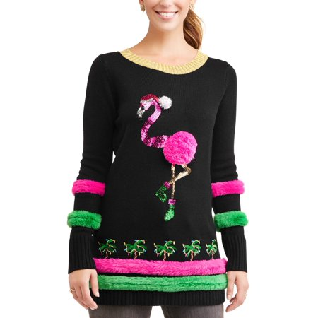 560c6db2c93 Holiday Time Women s Ugly Christmas Sweater Flamingo Tunic
