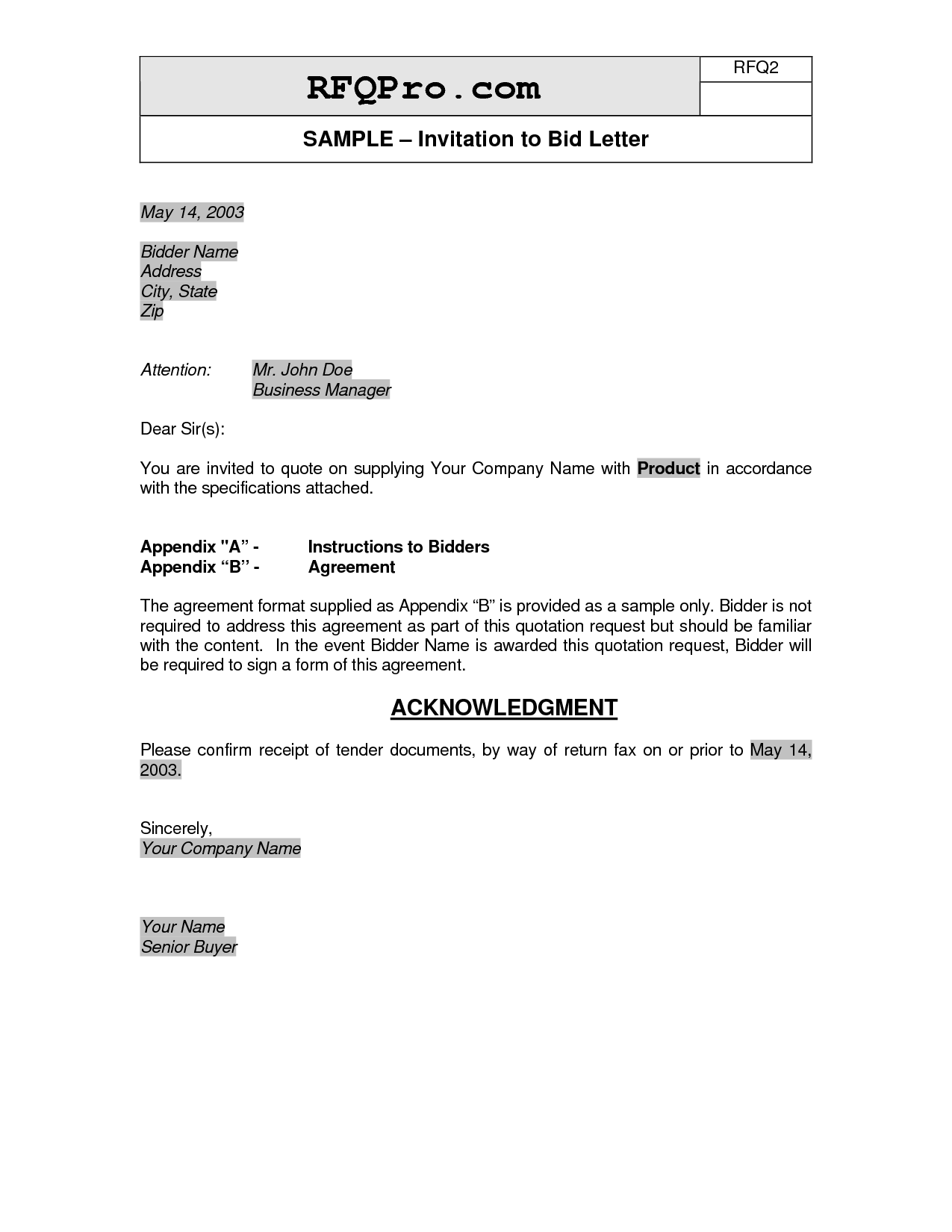 Business Invitation Letter Format Response Letter To Bid Invitation Membership Decline Letter This .