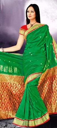 Green Red Golden Saree...75.00   http//www.indianweddingsaree.com