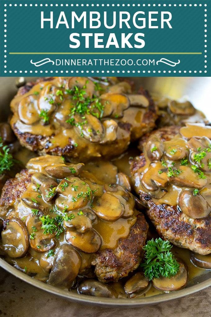 Hamburger Steaks With Mushroom Gravy Recipe Salisbury Steak Hamburger Groundbeef Mushrooms Grav Mushroom Gravy Recipe Beef Dinner Hamburger Steak Recipes