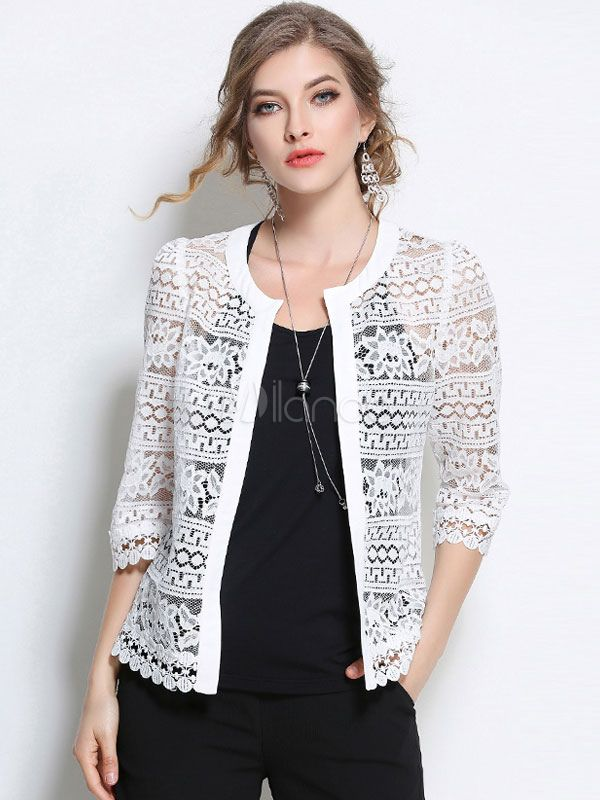 Women White Jacket Lace Open Front Three Quarter Sleeve ...