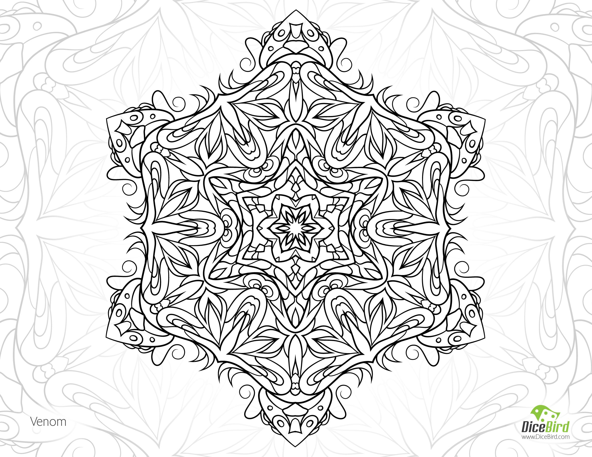 Free coloring pages snakes - Snake Venom Mandala Free Grown Up Coloring Pages