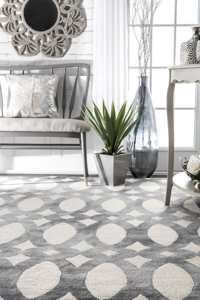Dip Dyed Stained Glass Trellis Gray Rug in 2020 Rugs