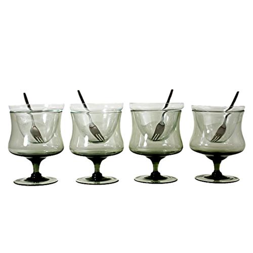 vintage smoky crystal shrimp cocktail glasses with inserts. Black Bedroom Furniture Sets. Home Design Ideas