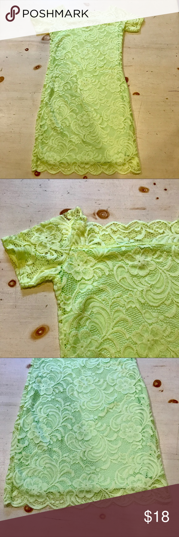 Green dress with lace overlay  HuM OfftheShoulder Lime Green Dress  Lace overlay Limes and