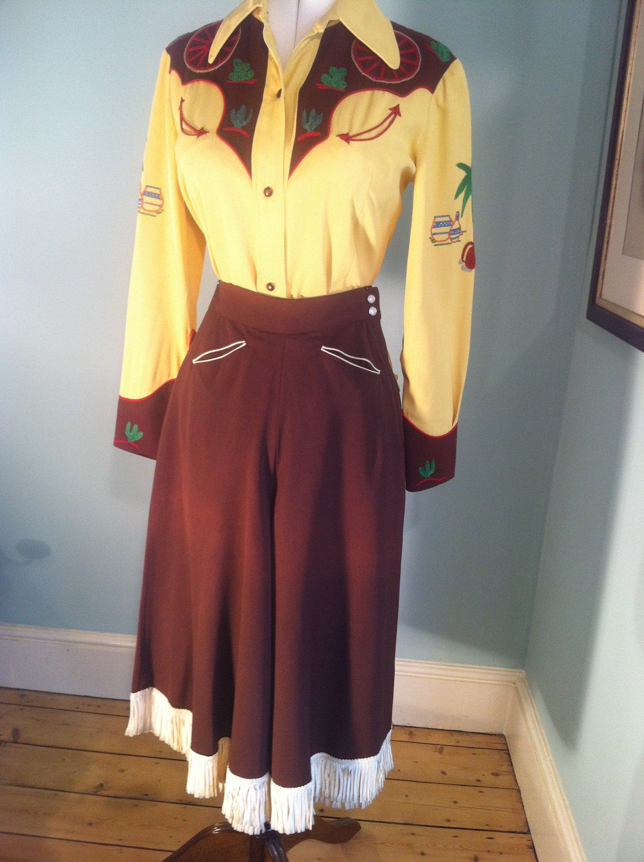 700f507c Vintage 50s Brown Gabardine western split skirt / culottes with fringes  size XS. $105.00, via Etsy.