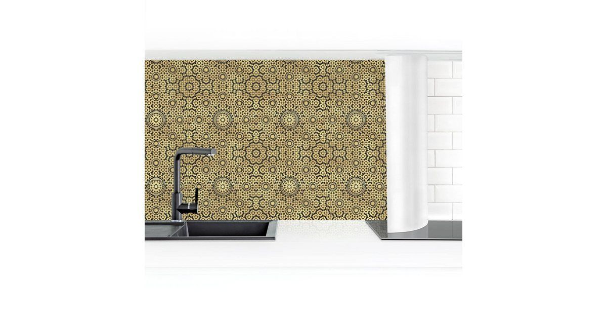 Photo of Bilderwelten Kitchen back wall »Oriental pattern with gold stars« OTTO