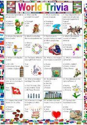 English worksheet: Around the World (Countries Trivia Game ...