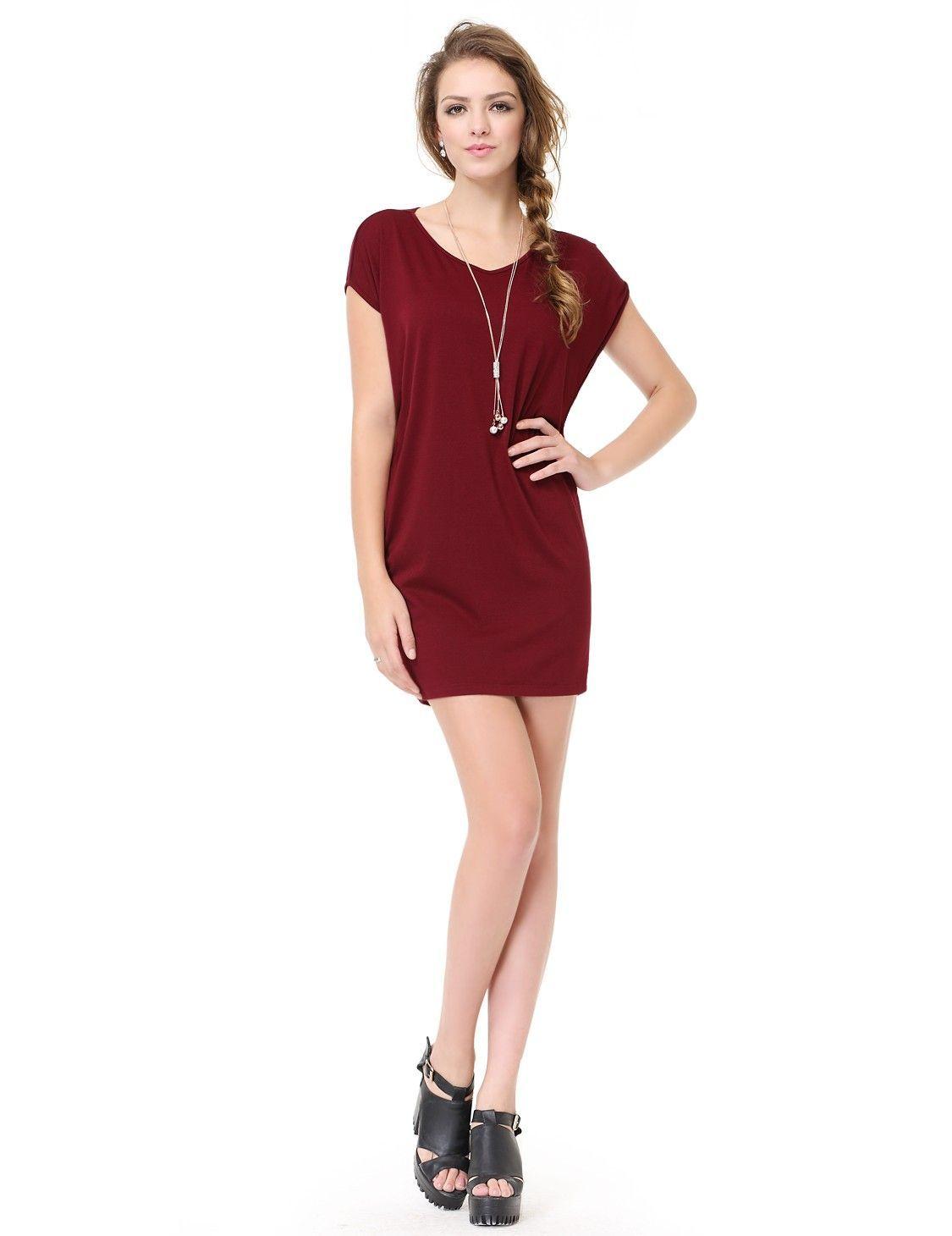 Halbarm Sommerkleid Dunkel Rot #mode #damenmode #fashion #kleider