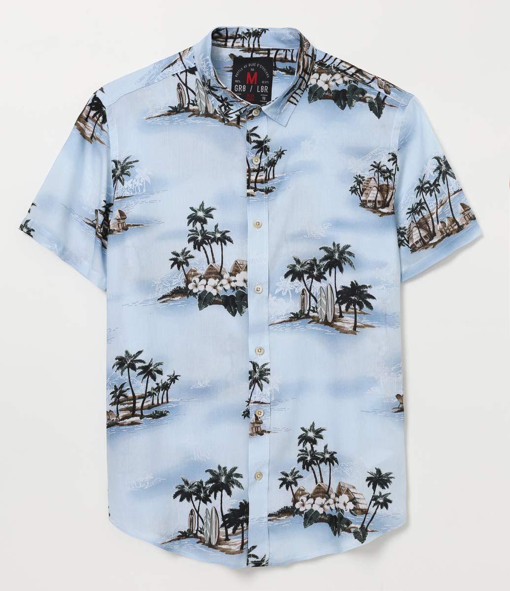 23a46cb3e3 Camiseta masculina de manga curta estampa paisagem