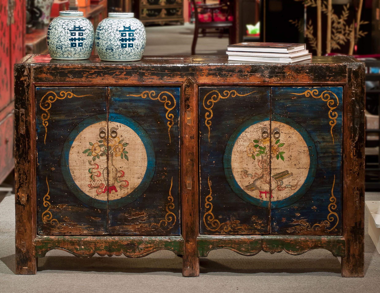 Hand painted tibetan cabinet decoraci n asia ex tica for Muebles de asia