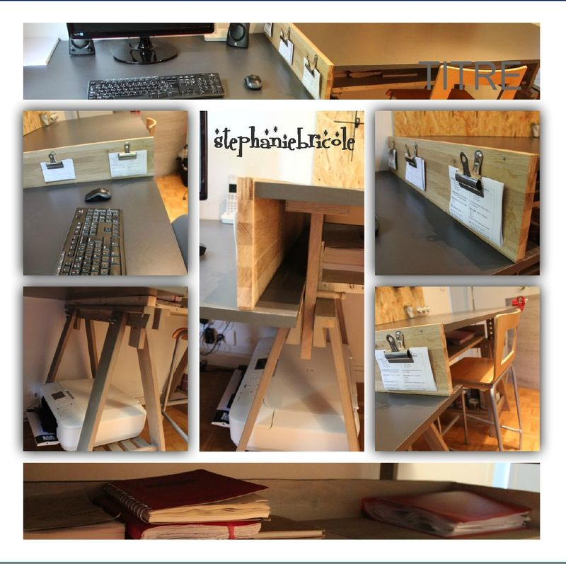 diy industriel un bureau plan de travail deux hauteurs pinterest bureau. Black Bedroom Furniture Sets. Home Design Ideas