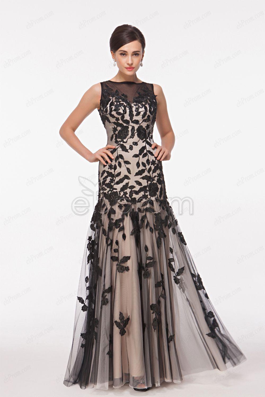 Boat Neck Lace Applique Black and Champagne Prom Dresses dresses