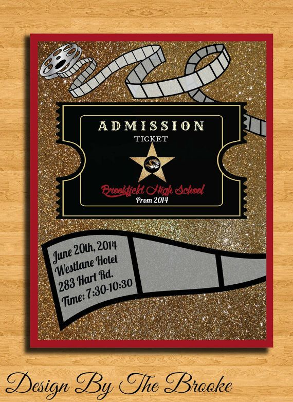 Old Hollywood Glam Themed Prom\/Special Event Ticket {Customizable - prom ticket template
