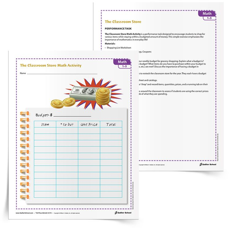 The Classroom Store Budgeting Lesson is a performance task designed