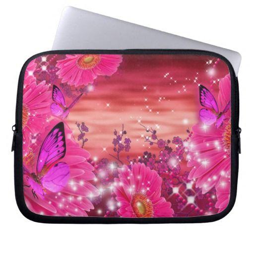 beautiful pink flowers butterflies sleeve laptop computer sleeve