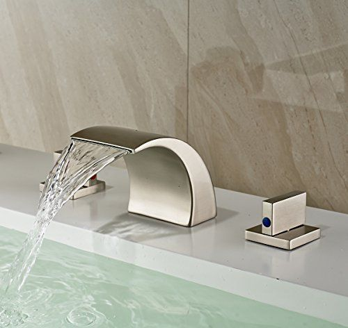 Rozin Waterfall Spout Bathroom Sink Faucet 3 Holes Widespread Basin Mixer Tap Brushed Nickel Rozinsanitary H Bathroom Faucets Faucet Widespread Bathroom Faucet