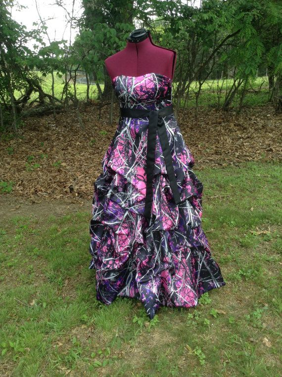 Muddy girl camo dress gown with pick up by for Camo and pink wedding dresses