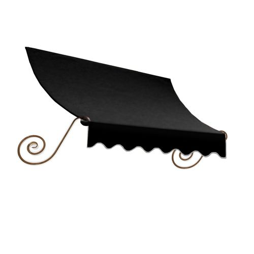 Like The Side Scroll Work Awntech 8 Ft 4 In Wide X 3 Ft Projection Black Solid Charleston Window Door Awning Door Awnings Window Awnings Windows And Doors