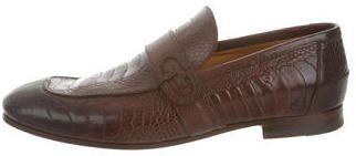 Gucci Ostrich Leg Square-Toe Loafers