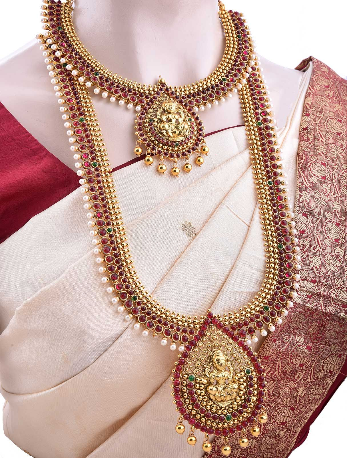 Bridal Set with Traditional Red Stones and White Pearls INDIAN