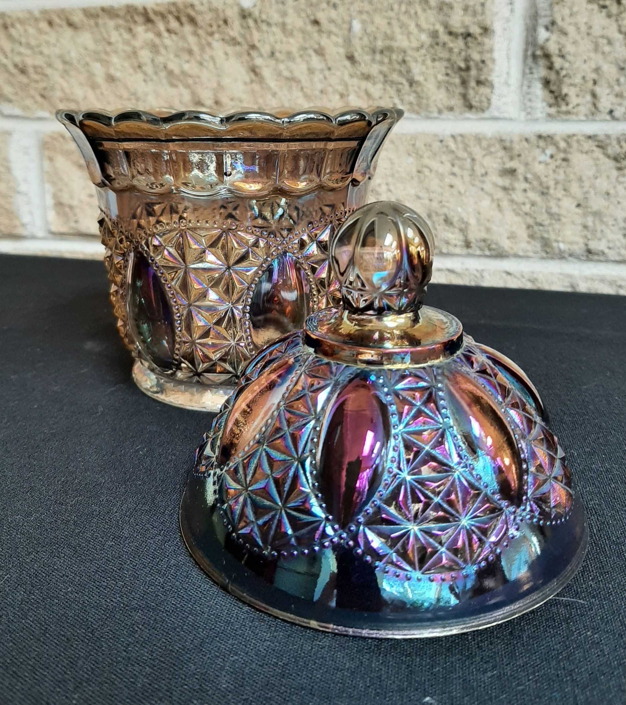 Vintage Style Home and Kitchen Carnival Glass Biscuit//Cracker//Cookie JAR