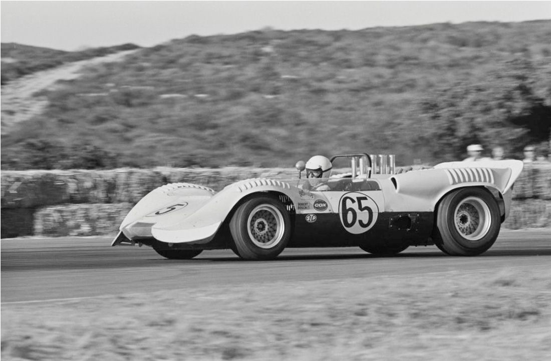 Hap Sharp driving his Chaparral in the Monterey GP, Oct 17, 1965. Sharp would finish 2nd to Walt Hansgen's Lola T70. Jim Hall was involved in a crash, wrecking his car. William Hewitt photo.