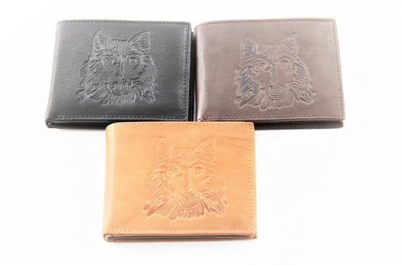 Wolf embossed leather bi fold wallet RFID blocking slim