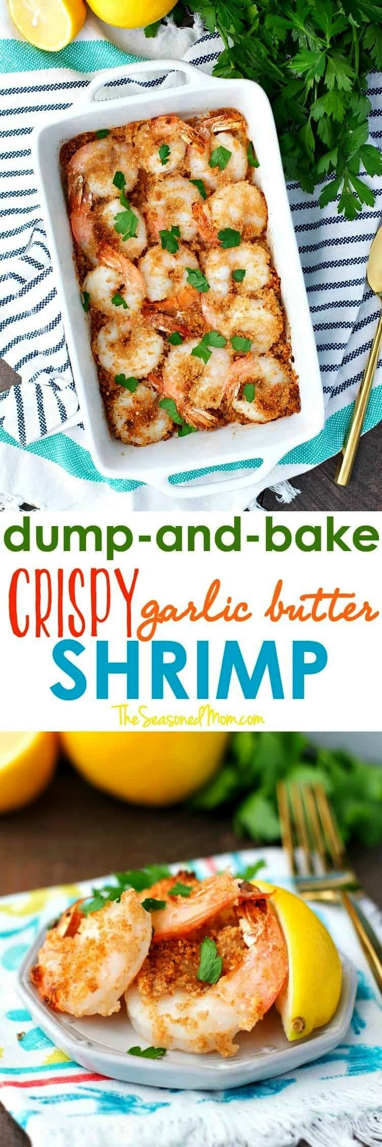 just 5 ingredients and no prep work, this Dump and Bake Crispy Garlic Butter Shrimp is a healthy di