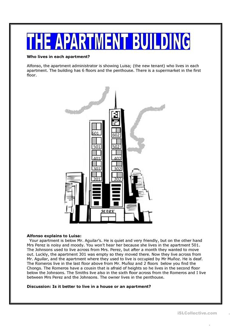 Worksheets Free Aphasia Worksheets the apartment building worksheet free esl printable worksheets made by teachers