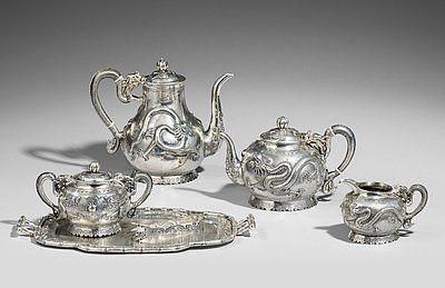 Kaffee- und Teeservice. Silber. Um 1900