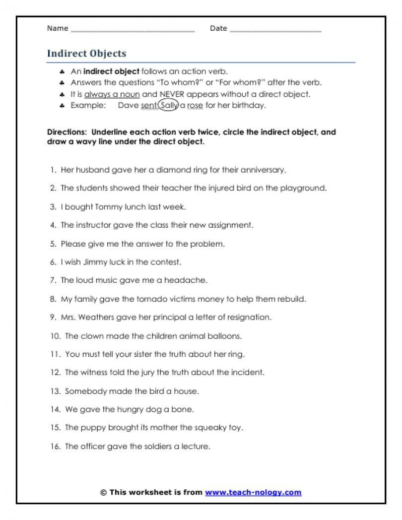 Direct And Indirect Objects Worksheets Kidz Activities