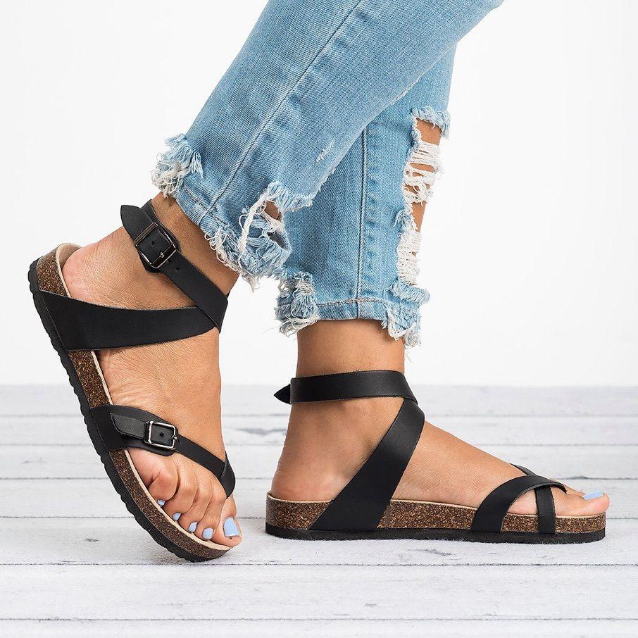 Fashion Cork Sandals New Women Casual Summer Beach Buckle Strap Sandals Shoe Flat with,Black,9