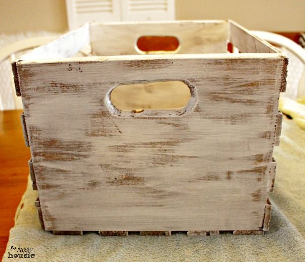 Dry brushed and distressed numbered chalk painted crates for Painted crate ideas