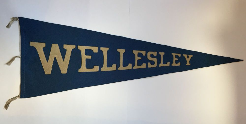 Rare Old WELLESLEY Wool 34 3/4 Inch Pennant College University ...