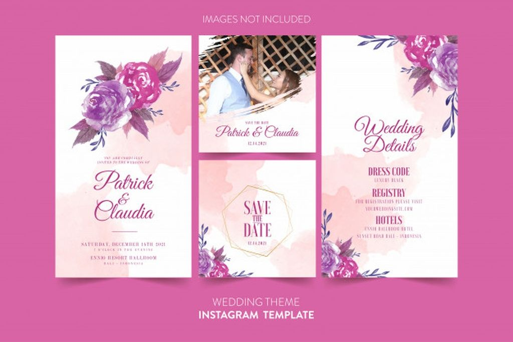 Instagram Template For Wedding Invitation Card With Watercolor Flower And Leaves Paid Affi In 2020 Wedding Invitation Cards Instagram Template Wedding Invitations