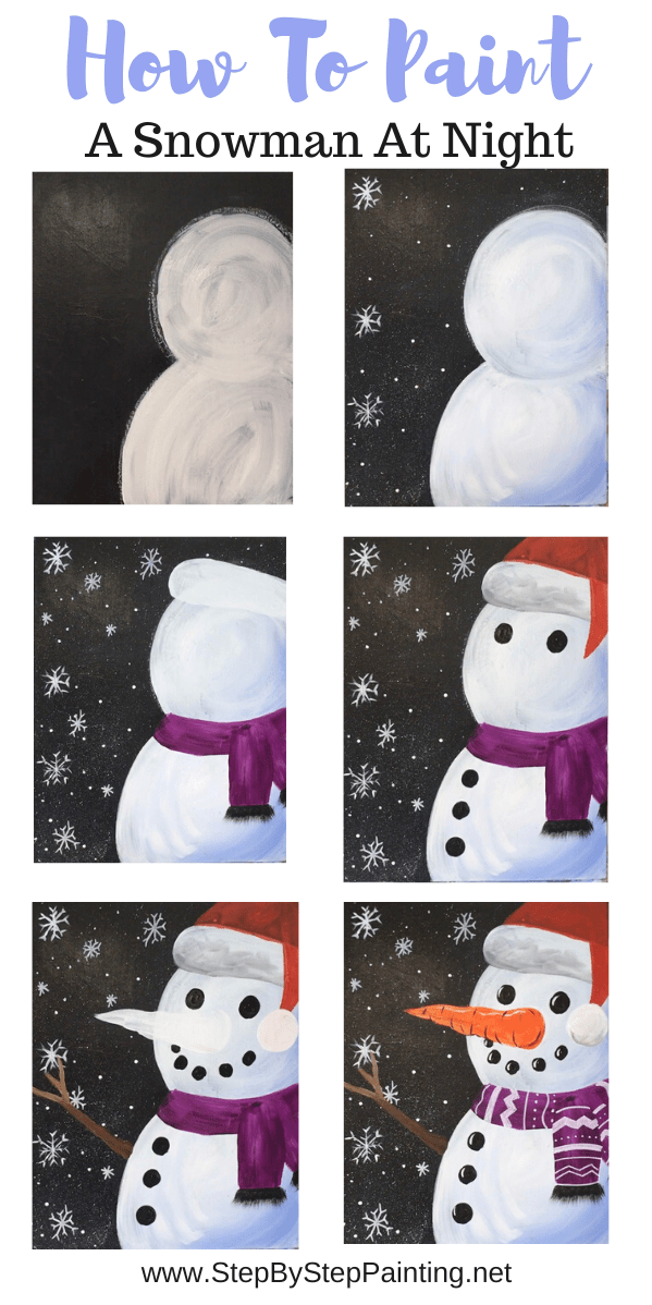 How To Paint A Snowman At Night  Step By Step Painting