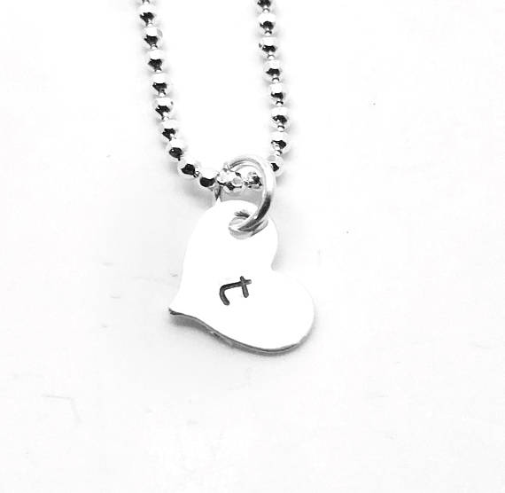 heart shaped initial necklace sterling silver letter t