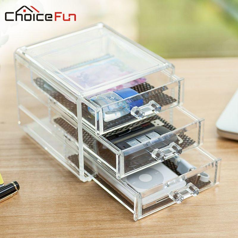 CHOICE FUN Direct Selling Acrylic Home Office Storage 3 Drawer Desk  Organizer Fashion Office Supplies Desk
