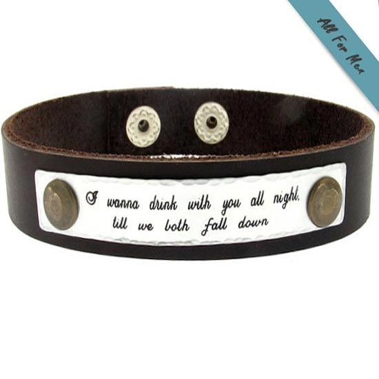 Quote Engraved Bracelet For Men Personalized Leather Cuff