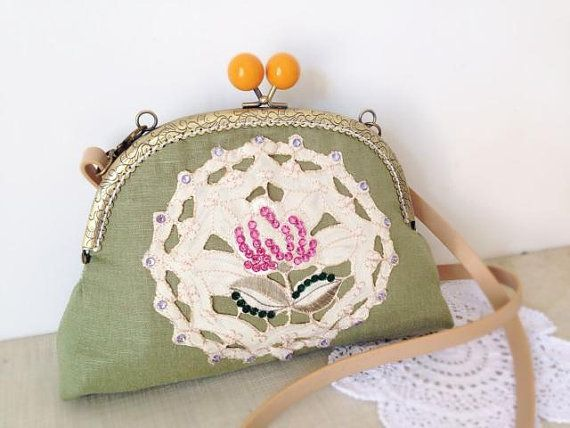 Vintage lace green handbag handmade lace flower  by SnHfashion