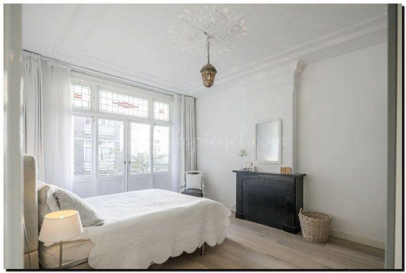 inspiratie voor slaapkamer. boogspiegel wit boven schouw in, Deco ideeën