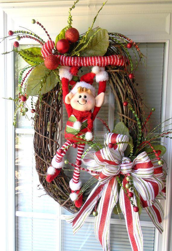 Ideas decorar puerta navidad diy 23 curso de for Arreglos navidenos para puertas