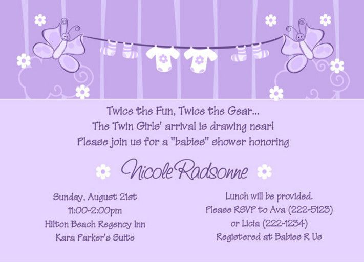 Lovely Twin Girl Baby Shower Invitation Wording Simple Twin Baby