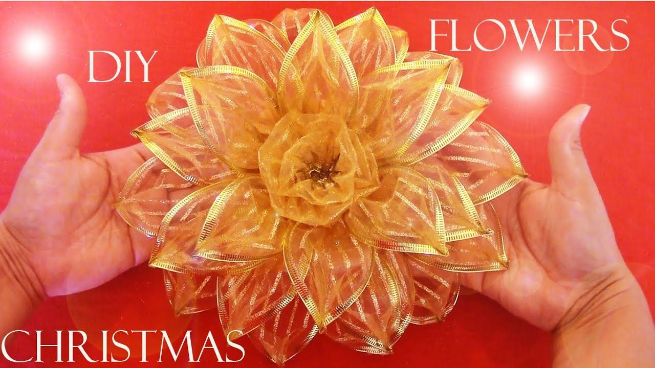Diy Moños Navideños Christmas Flowers Diy Lace Ribbon Flowers Christmas Bows Diy Christmas Flowers
