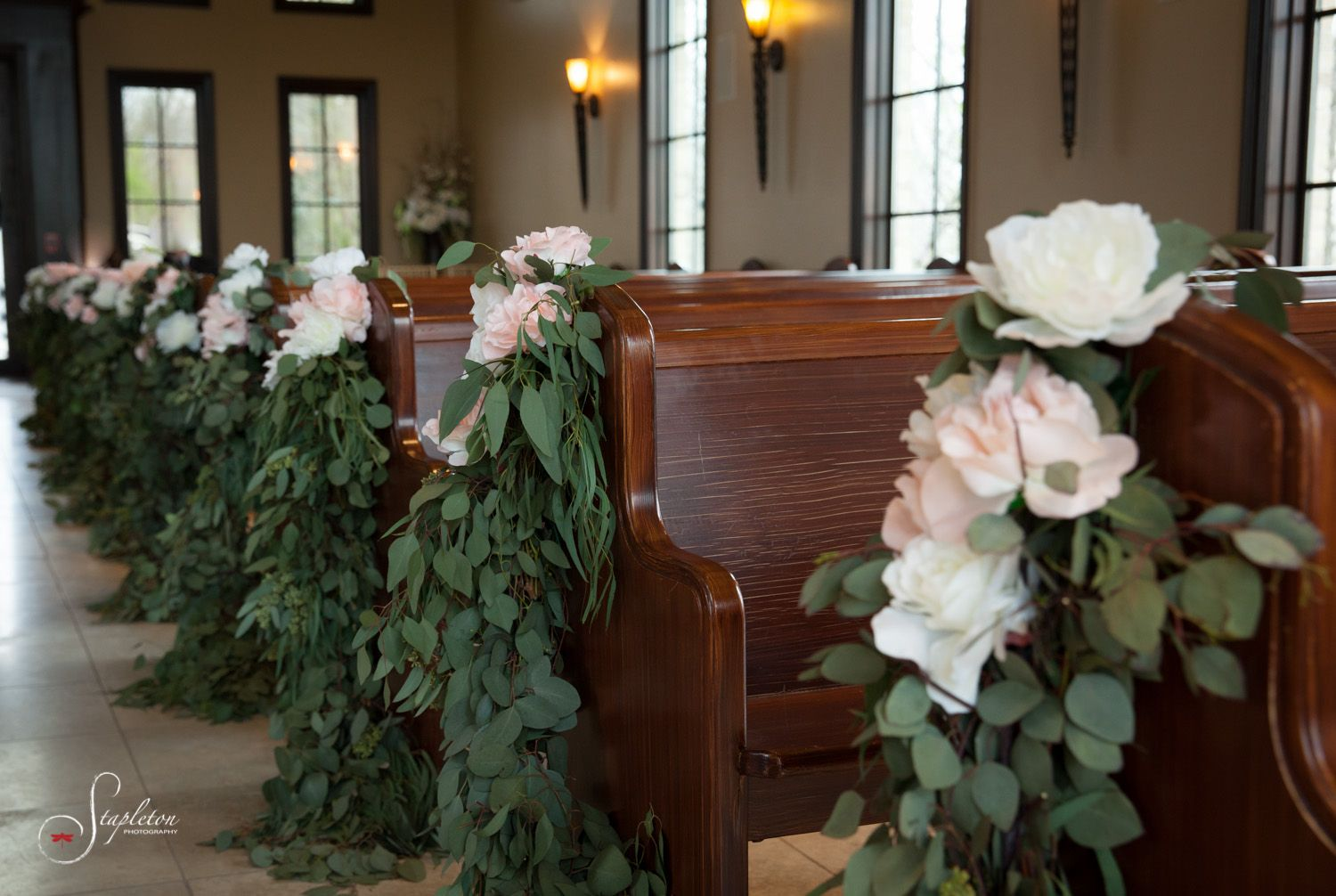 Stunning Pew Decorations Of Eucalyptus And Roses By The French
